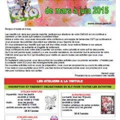 Calendrier des Inactifs (mars à juin 2015)